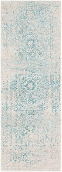 Surya Harput Traditional Teal Light Gray Runner - 87 X 31 HAP1026-2773