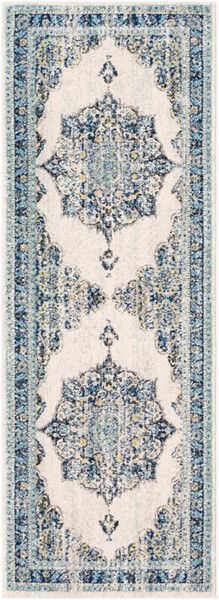 Surya Harput Traditional Dark Blue Light Gray Charcoal Runner - 87 x 31 HAP1031-2773