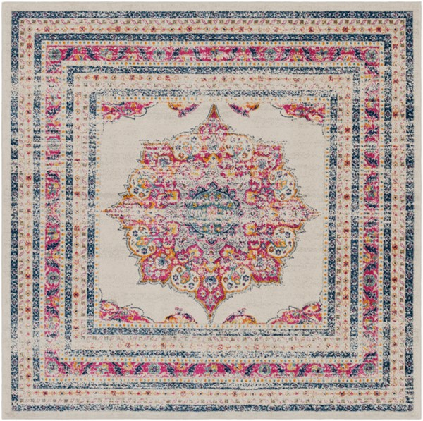 Surya Harput Dark Blue Saffron Light Gray Square Area Rug - 79 x 79 HAP1033-67SQ