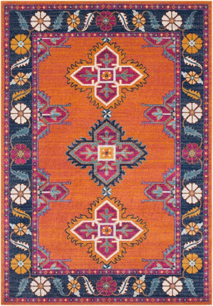 Surya Harput Burnt Orange Dark Blue White Area Rug - 87 x 63 HAP1036-5373