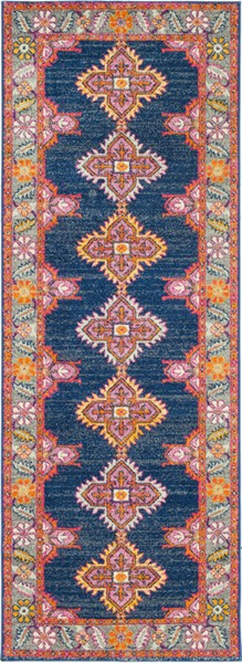 Surya Harput Dark Blue Light Gray Saffron Runner - 87 x 31 HAP1037-2773