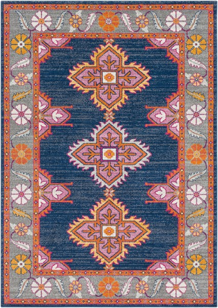 Surya Harput Dark Blue Light Gray Saffron Area Rug - 108 x 79 HAP1037-679