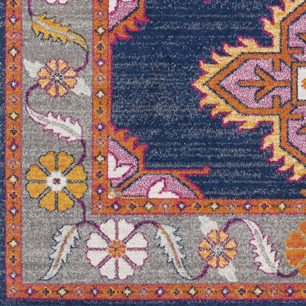 Surya Harput Dark Blue Light Gray Saffron Sample Area Rug - 18 x 18 HAP1037-1616