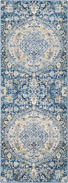 Surya Harput Traditional Dark Blue Bright Yellow White Runner - 87 x 31 HAP1043-2773