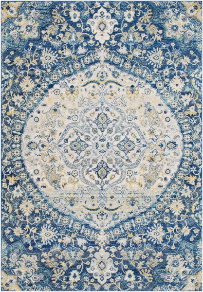 Surya Harput Traditional Dark Blue Bright Yellow White Area Rug - 87 x 63 HAP1043-5373