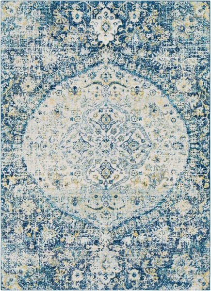 Surya Harput Dark Blue Light Gray Bright Yellow Area Rug - 67 x 47 HAP1046-31157