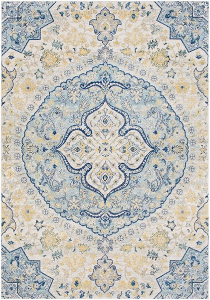 Surya Harput Dark Blue Bright Yellow White Area Rug - 87 x 63 HAP1048-5373