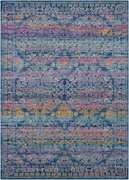 Surya Harput Dark Blue Burnt Orange Saffron Area Rug - 123 x 94 HAP1054-710103
