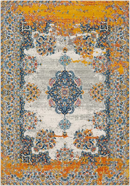 Surya Harput Dark Blue Light Gray Charcoal Traditional Area Rug - 150 x 111 HAP1056-93126