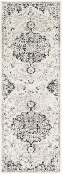 Surya Harput Light Gray Charcoal Black Traditional Runner - 87 x 31 HAP1061-2773