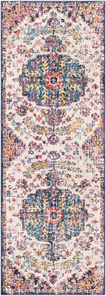 Surya Harput Light Gray Burnt Orange Dark Blue Runner - 87 x 31 HAP1064-2773