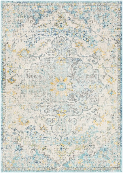 Surya Harput Light Gray Teal Charcoal Area Rug - 87 x 63 HAP1065-5373