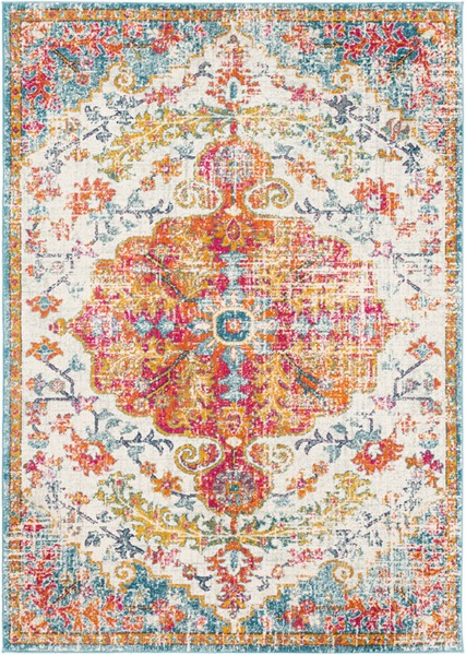 Surya Harput Saffron Light Gray Burnt Orange Area Rug - 123 x 94 HAP1067-710103