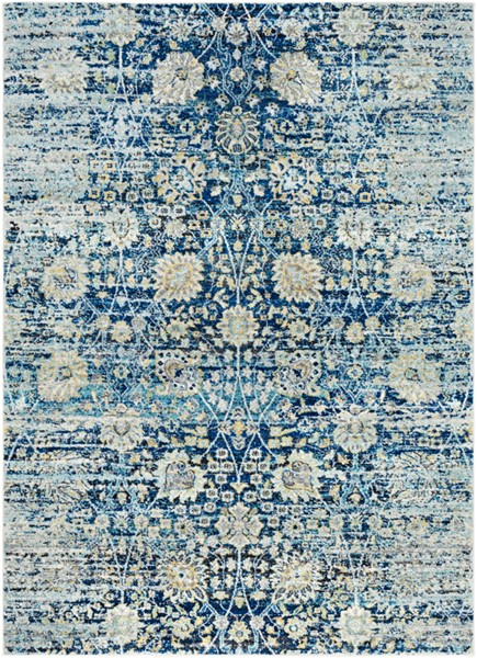 Surya Harput Bright Blue Charcoal White Area Rug - 87 x 63 HAP1073-5373