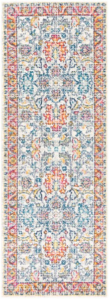 Surya Harput Light Gray Dark Blue Saffron Runner - 87 x 31 HAP1079-2773