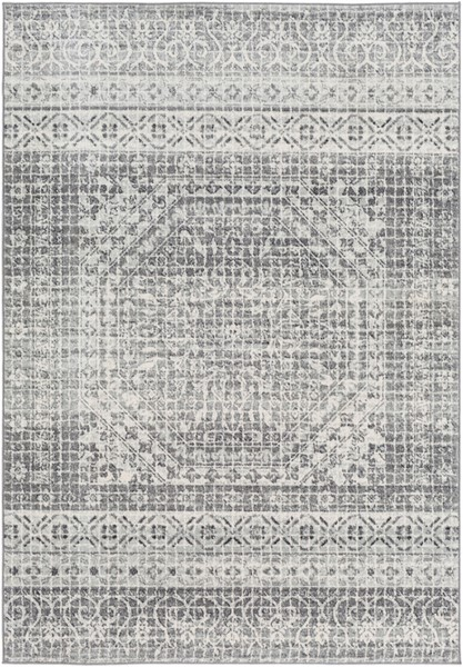 Surya Harput Light Gray Charcoal Black Area Rug - 150 x 111 HAP1080-93126
