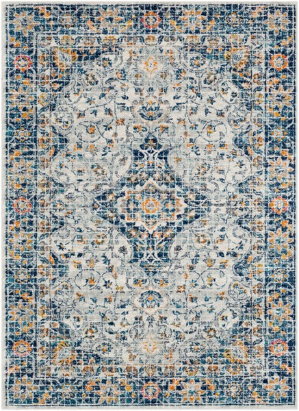 Surya Harput Dark Blue Light Gray Burnt Orange Area Rug - 123 x 94 HAP1084-710103