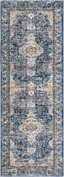 Surya Harput Dark Blue Charcoal White Runner - 87 x 31 HAP1085-2773
