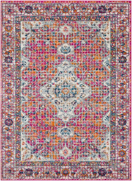 Surya Harput White Burnt Orange Saffron Area Rug - 123 x 94 HAP1086-710103