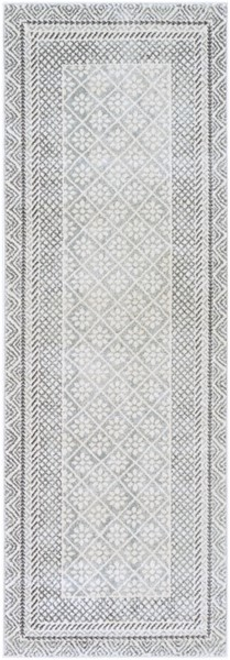Surya Harput Transitional Charcoal Light Gray White Runner - 87 x 31 HAP1088-2773