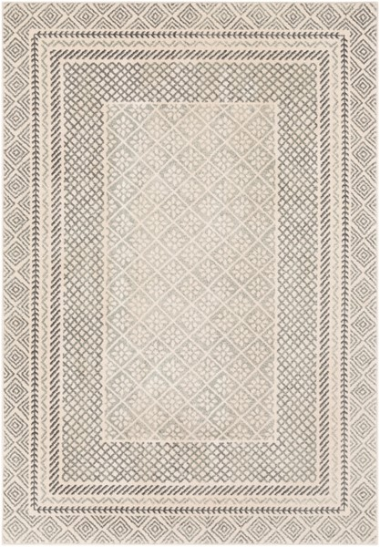 Surya Harput Transitional Charcoal Light Gray White Area Rug - 123 x 94 HAP1088-710103