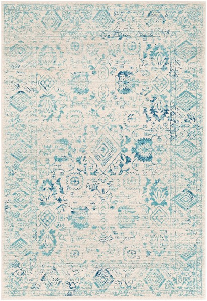 Surya Harput Transitional Aqua Bright Blue White Area Rug - 87 x 63 HAP1089-5373