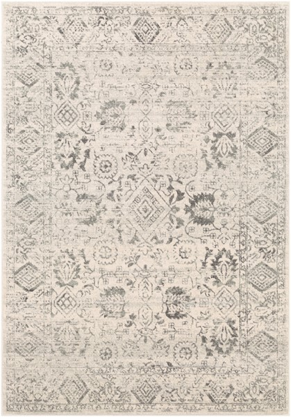 Surya Harput Charcoal Light Gray White Rectangle Area Rug - 123 x 94 HAP1091-710103