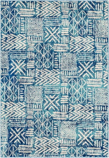 Surya Harput Bright Blue Aqua Light Gray Area Rug - 150 x 111 HAP1092-93126