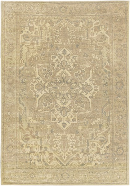 Hathaway Traditional Beige Olive Charcoal Gold Polypropylene Area Rug HAT3000-810129