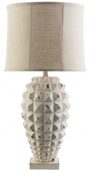 Holbrook White Wash Resin Burlap Table Lamp - 17x33 HBK100-TBL