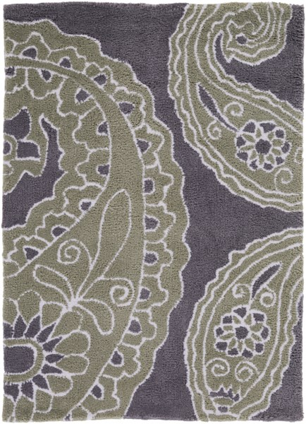 Hudson Park Contemporary Charcoal Moss Ivory Polyester Area Rugs 534-VAR1