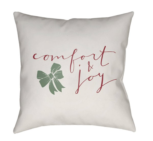 Surya Comfort White Maroon Pillow Cover - 20x20 HDY009-2020