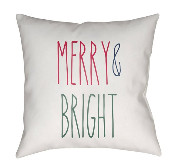 Surya Merry Bright White Red Green Pillow Cover - 18x18 HDY063-1818