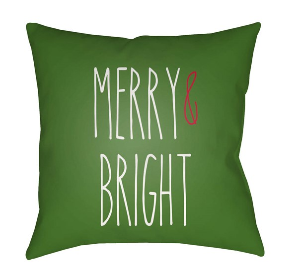 Surya Merry Bright Green White Pillow Cover - 18x18 HDY065-1818