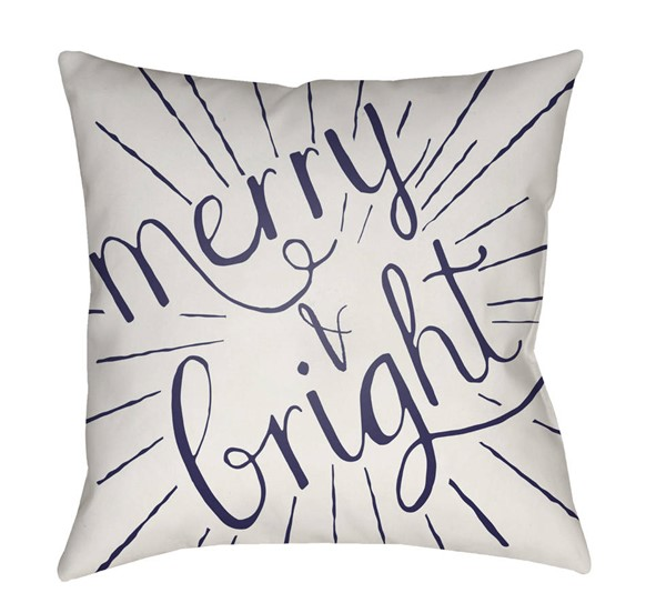 Surya Merry and Bright White Blue Pillow Cover - 20x20 HDY122-2020