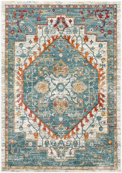 Surya Herati Bright Blue Orange Light Gray Area Rug - 87 x 63 HER2300-5373