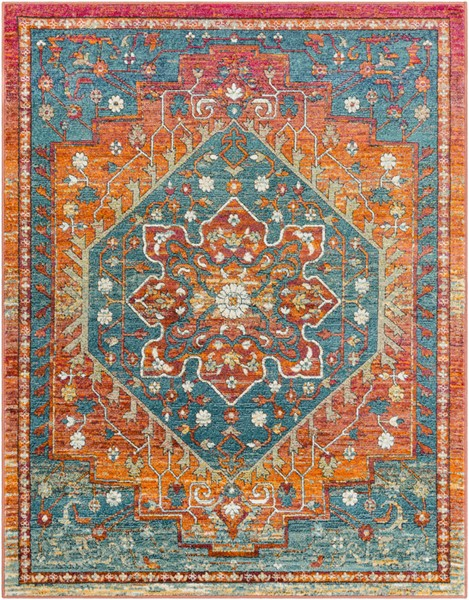 Surya Herati Bright Orange Blue Dark Green Area Rug - 126 x 94 HER2301-710106