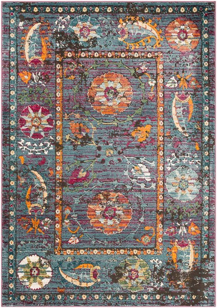 Surya Herati Bright Blue Orange Dark Green Area Rug - 36 x 24 HER2302-23