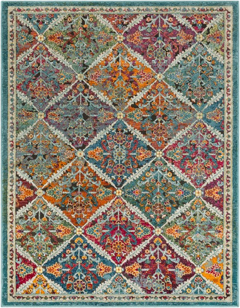 Surya Herati Bright Orange Dark Green Blue Area Rug - 126 x 94 HER2304-710106