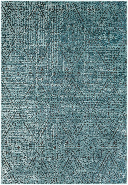 Surya Herati Aqua Bright Blue Black Area Rug - 157 x 108 HER2305-9131