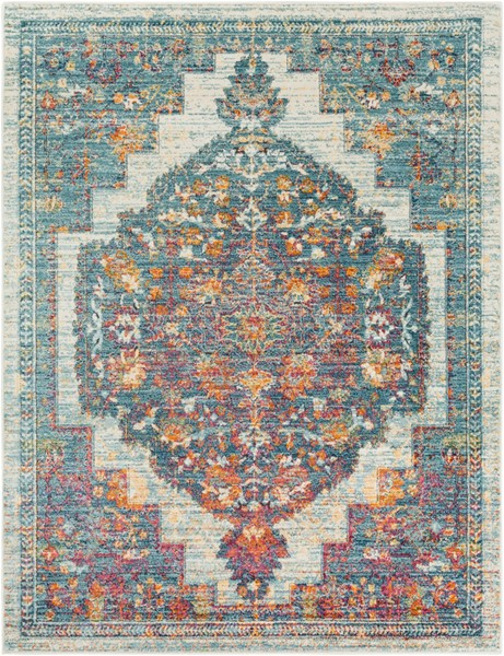 Surya Herati Bright Blue Orange White Area Rug - 71 x 47 HER2307-311511