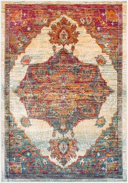 Surya Herati Bright Orange Blue Gray Area Rug - 71 x 47 HER2308-311511