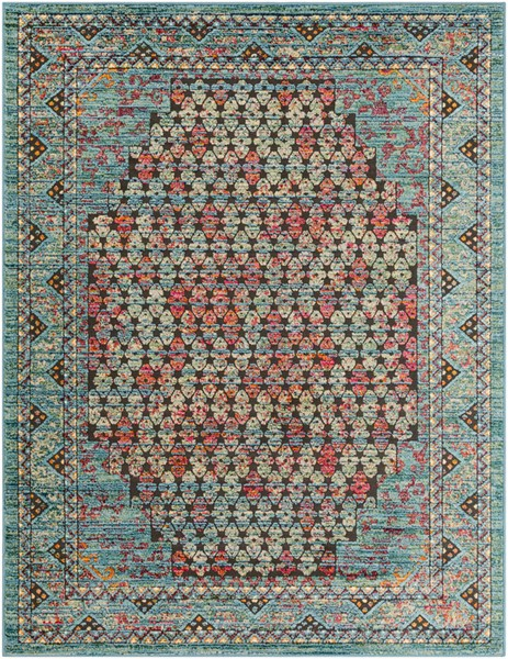 Surya Herati Bright Blue Dark Green Black Area Rug - 36 x 24 HER2310-23