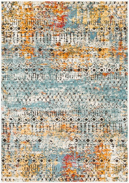 Surya Herati White Bright Blue Orange Area Rug - 71 x 47 HER2313-311511