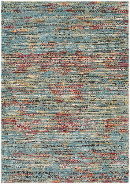 Surya Herati Bright Blue Orange Black Area Rug - 126 x 94 HER2314-710106
