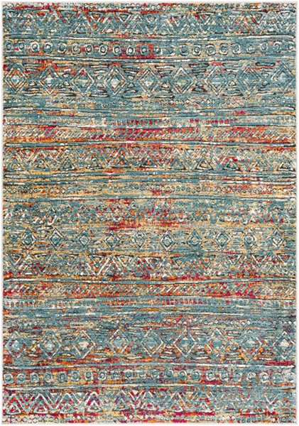 Surya Herati Aqua Bright Blue Dark Red Area Rug - 126 x 94 HER2315-710106