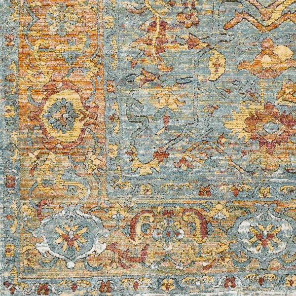 Surya Herati Bright Orange Blue Light Gray Sample Area Rug - 18 x 18 HER2316-1616