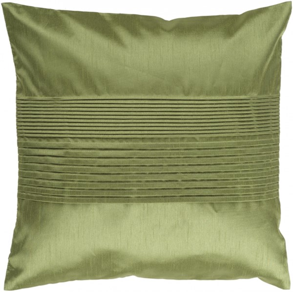 Solid Pleated Green Poly Polyester Throw Pillow - 22x22x5 HH013-2222P