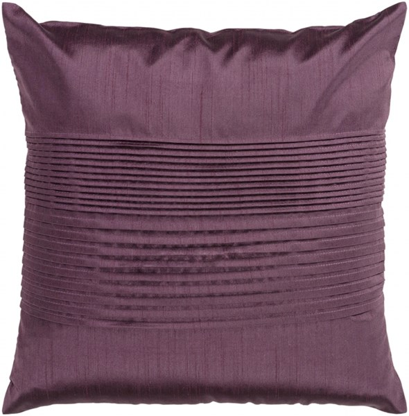 Solid Pleated Eggplant Down Polyester Throw Pillow - 22x22x5 HH016-2222D
