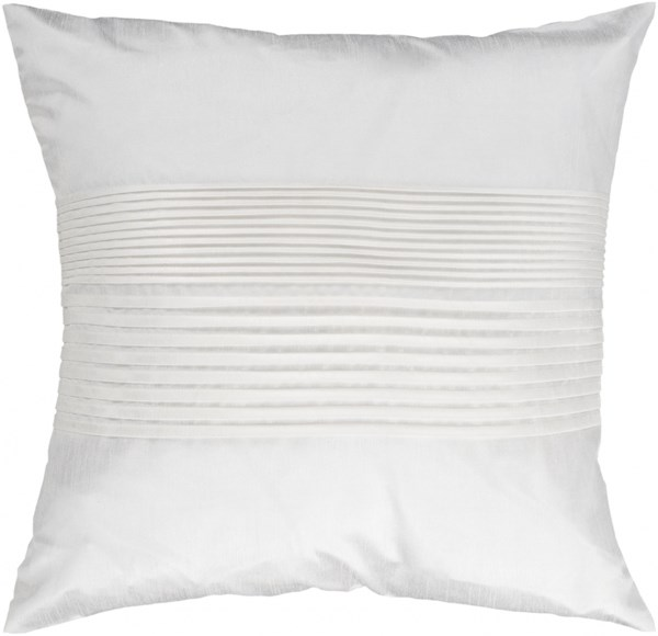 Solid Pleated Ivory Down Polyester Throw Pillow - 22x22x5 HH017-2222D